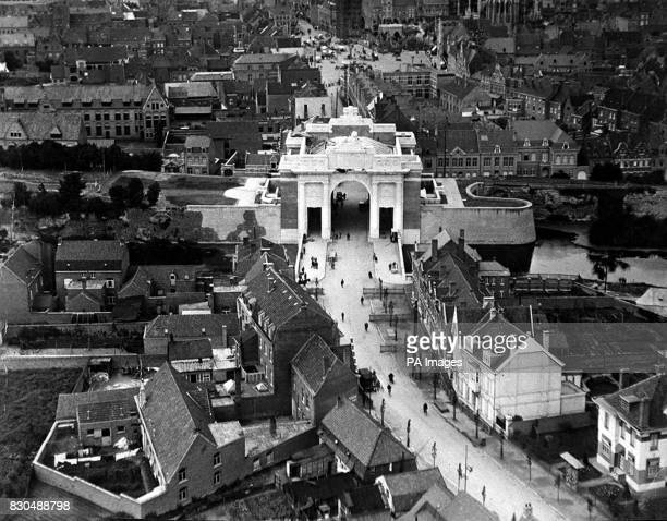 An undated view of the Menin Gate War Memorial at Ypres Belgium The arch crosses the Menin road of infamous memory and commemorates some 58800...