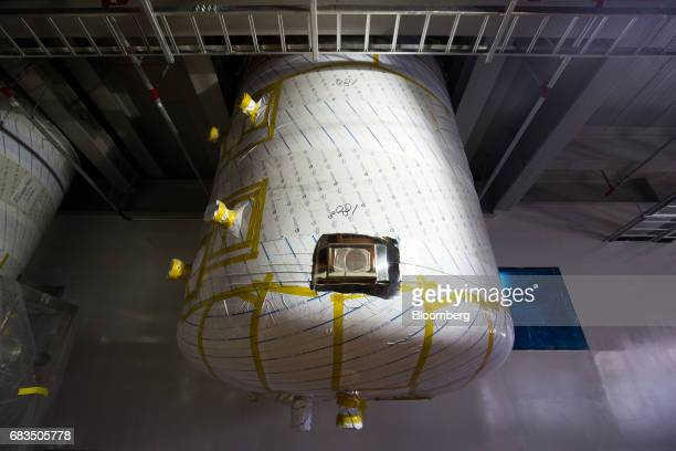 An under cover bioreactor is seen at the under construction Plant 3 inside the Samsung BioLogics Co headquarters and production facilities in Songdo...