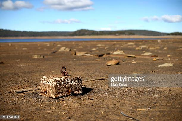 An underwater anchor point is seen on the dry shores of Great Lake in the central northern region of Tasmania on April 17 2016 in Breona Australia...