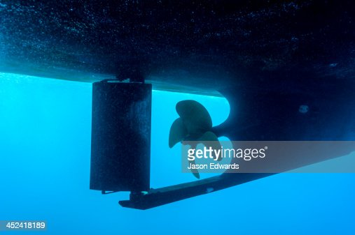 An underwater view of a boat propeller and rudder.