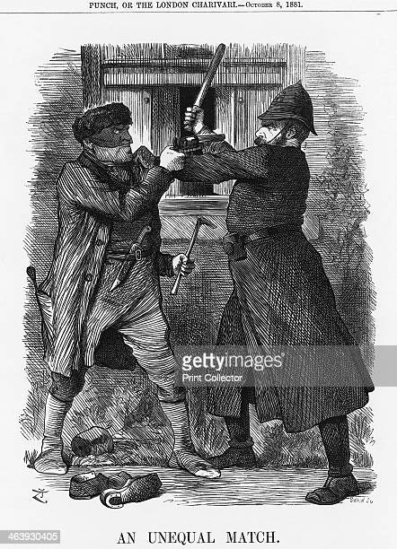 'An Unequal Match' 1881 This cartoon depicts a burglar armed with pistol and knife engaged in a rather unequal battle with a police constable who is...