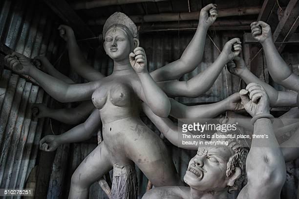An unfinished clay Durga idol