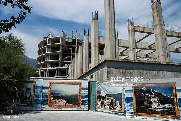 An unfinished construction is seen on August 11 2015 in Yalta Crimea Russian President Vladimir Putin signed a bill in March 2014 to annexe the...
