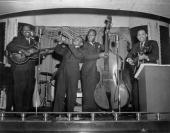 An unidentified band plays some jazz onstage at an unidentified venue in Chicago ca1920s AfricanAmerican musicians from New Orleans and the...