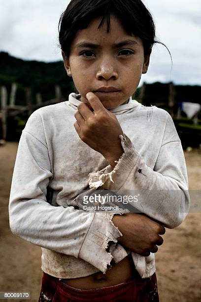 An unidentified Guarani girl of a debt slave family standing outside her family's house February 10 2007 in the Chuquisaca district in Bolivia 6000...