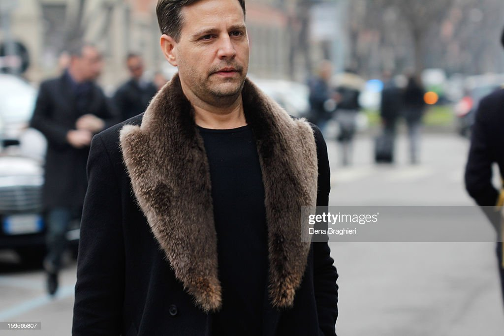 An unidentified guest is seen during Milan Fashion Week on January 15, 2013 in Milan, Italy.