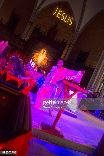 An unidentified man dances barefoot during a service at St Sabina Church in the Auburn Gresham neighborhood Chicago Illinois July 17 2016