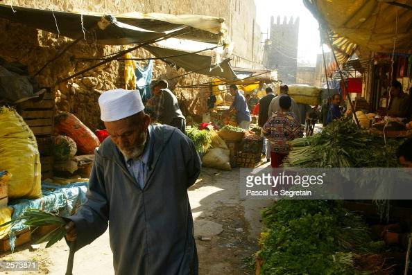 An unidentified man walks in the Medina on October 9 2003 in Fez Morocco French President Jacques Chirac will be in Fez to attend a threeday official...