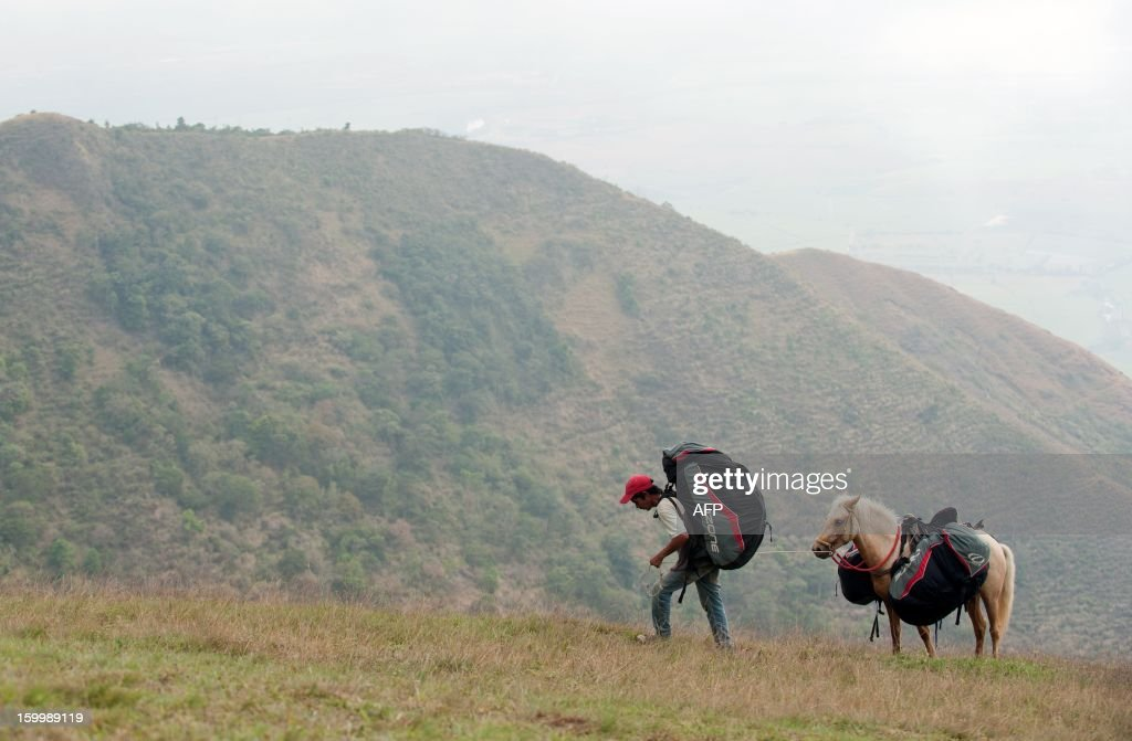 An unidentified paraglider pilot climbs a mountain carrying his equipment with the help of a donkey in Roldanillo, Valle del Cauca department, Colombia, during the Paragliding World Cup Superfinal, on January 24, 2013. The competition is taking place for the first time in Colombia and involves the 140 world's best pilots from 32 countries. AFP PHOTO / Luis ROBAYO