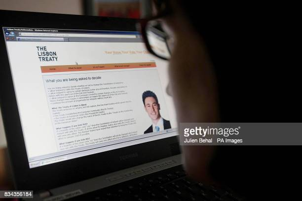 An unidentified person looks at a a new website providing information on the Lisbon Treaty which was today launched to educate voters in advance of...