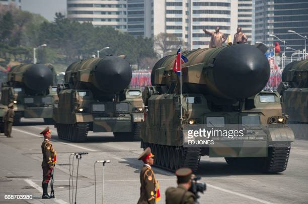 An unidentified rocket is displayed during a military parade marking the 105th anniversary of the birth of late North Korean leader Kim IlSung in...