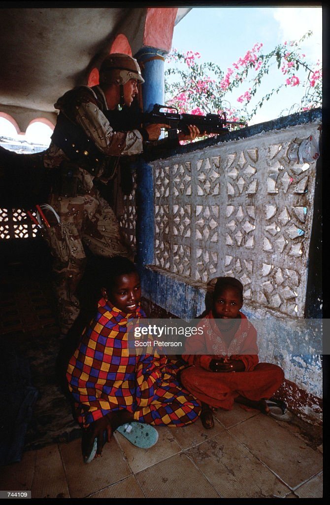 An unidentified US soldier keeps watch January 11 1993 in Mogadishu Somalia The United Nations hopes to restore order and save hundreds of thousands...