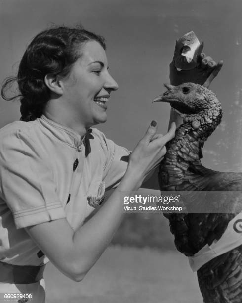 An unidentified woman crowns a prize turkey at an annual Northwestern Turkey Grower's Association contest Salt Lake City Utah 1920s or 1930s The...