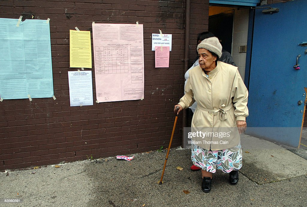 An unidentified woman exits a polling place after voting on Election Day on November 4, 2008 in Philadelphia, Pennsylvania. After nearly two years of presidential campaigning, U.S. citizens go to the polls today to vote in the election between Democratic presidential nominee U.S. Sen. Barack Obama (D-IL) and Republican nominee U.S. Sen. John McCain (R-AZ).