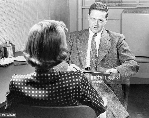 An unidentified woman is being interviewed by one of Dr Alfred Charles Kinsey's assistants Dr Wardell B Pomeroy for institute of sex research