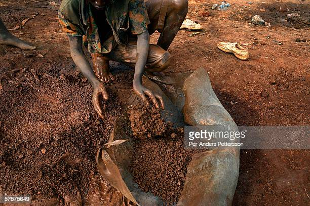 An unidentified young man cleans bags of cobalt that's been taken out of a cobalt mine on December 13 2005 in Ruashi mine about 20 kilometers outside...