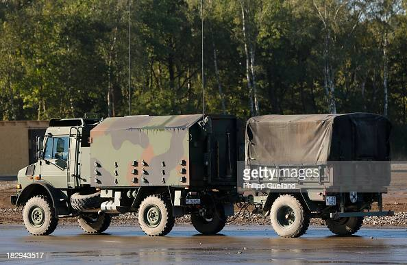 An Unimog truck with communications equipment is seen during the annual military exercises held for the media at the Bergen military training grounds...