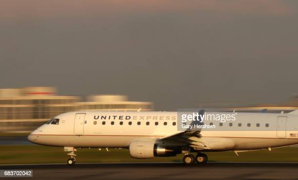 An United Airlines commuter airplane takes off at Toronto Pearson International Airport in Toronto Canada on May 13 2017