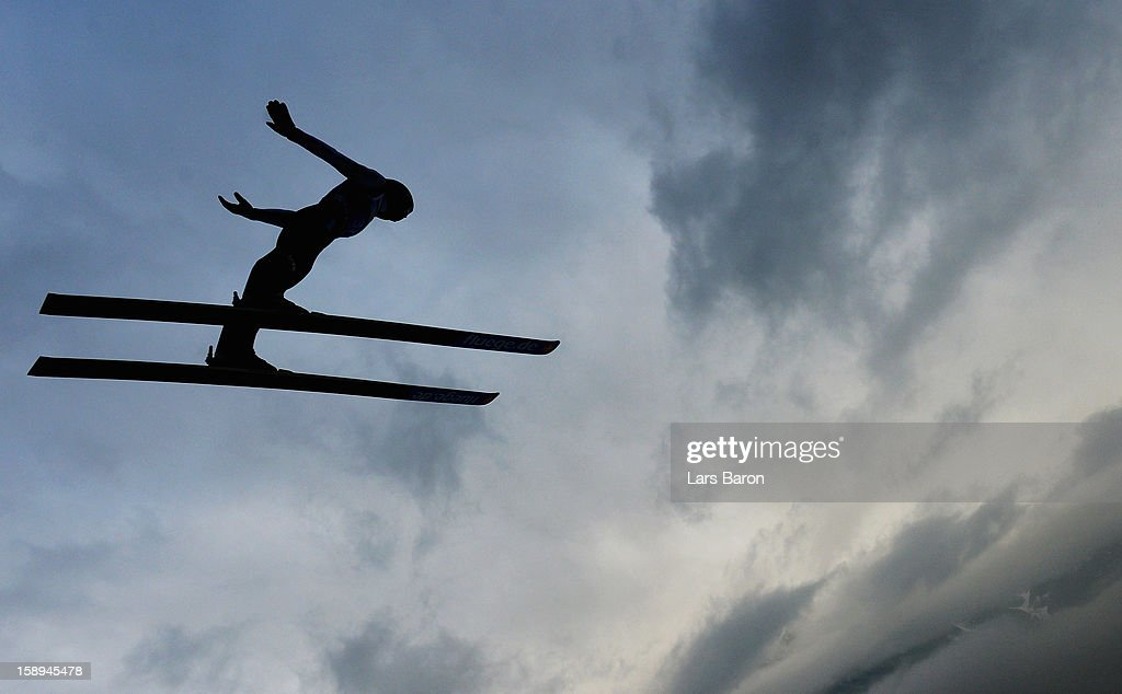An unknown athlet competes during the trial round for the FIS Ski Jumping World Cup event of the 61st Four Hills ski jumping tournament at Bergisel-Stadion on January 4, 2013 in Innsbruck, Austria.