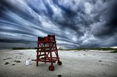 An unmanned lifeguard station at Lighthouse Point Park in Ponce Inlet Fla as afternoon storms blow in on Friday Aug 29 with Central Florida beach...