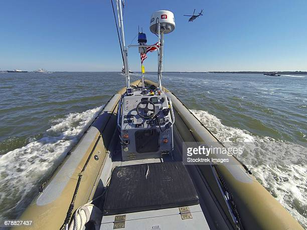 An unmanned rigid-hull inflatable boat on the James River in Newport News, Virginia.