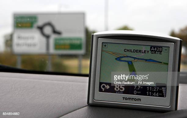 An unnamed Road is shown on a Tom Tom SatNav in a street in Cambridge