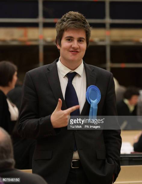 An unnamed Zac Goldsmith supporter is seen at the General election count for the London Borough of Richmond upon Thames at Richmond upon Thames...