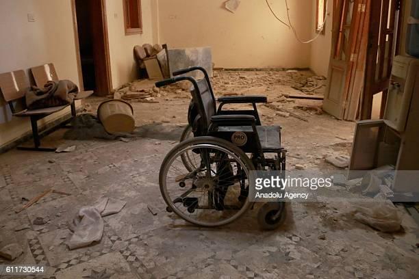 An unusable wheel chair is seen inside the Sahra Hospital after a barrel bomb strike by Syrian regime forces over Sahur neighborhood of Aleppo Syria...