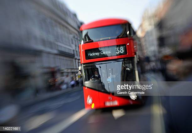 An updated Routemaster bus passes along Piccadilly March 01 2012 in London England
