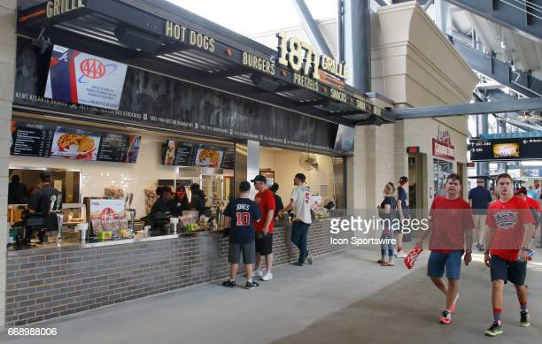 An Upper Level concessions stand prior to the game between the Atlanta Braves and the San Diego Padres on April 15 2017 at SunTrust Park in Atlanta GA