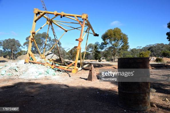 An upturned mine frame lies on the ground at the Phoenix Gold Ltd Castle Hill gold project in Kunanalling northwest of Kalgoorlie Australia on...