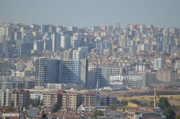 An urban landscape of apartments and residential buildings is pictured in the historic Ulus district of Ankara Turkey on October 20 2017
