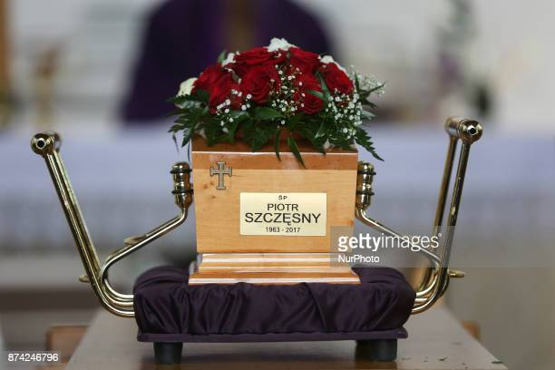 An urn with ashes of Piotr Szczesny during his funeral at Salwator cemetery in Krakow Poland on 14 November 2017 Piotr Szesny age 54 set himself on...