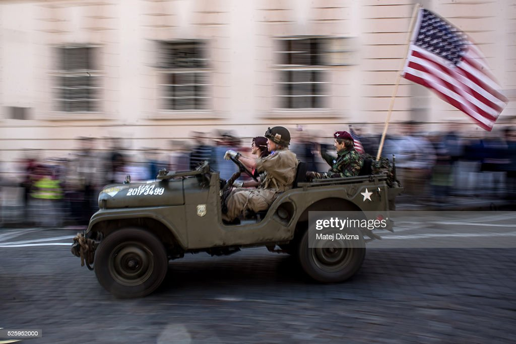 An US army jeep is driven during the 'Convoy of Liberty' event on April 29, 2016 in Prague, Czech Republic. The 'Convoy of Liberty' commemorates the 71st anniversarry of the liberation of the western part of the Czech Republic by the US Army from Nazi oppression in 1945. The convoy's route begins on the bank of Vltava river in Prague and makes its first stop in front of the US Embassy, where it will be met by the Czech Army Military Band.