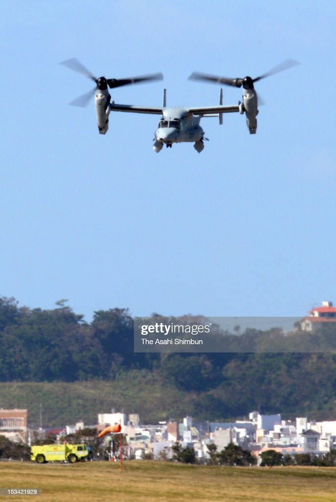 An U.S. MV-22 Osprey aircraft takes off from the U.S. Marine Corp Futanma Air Station on October 4, 2012 in Ginowan, Okinawa, Japan. Okinawa residents have been strongly protested against the deployment due to the mounting safety concerns.