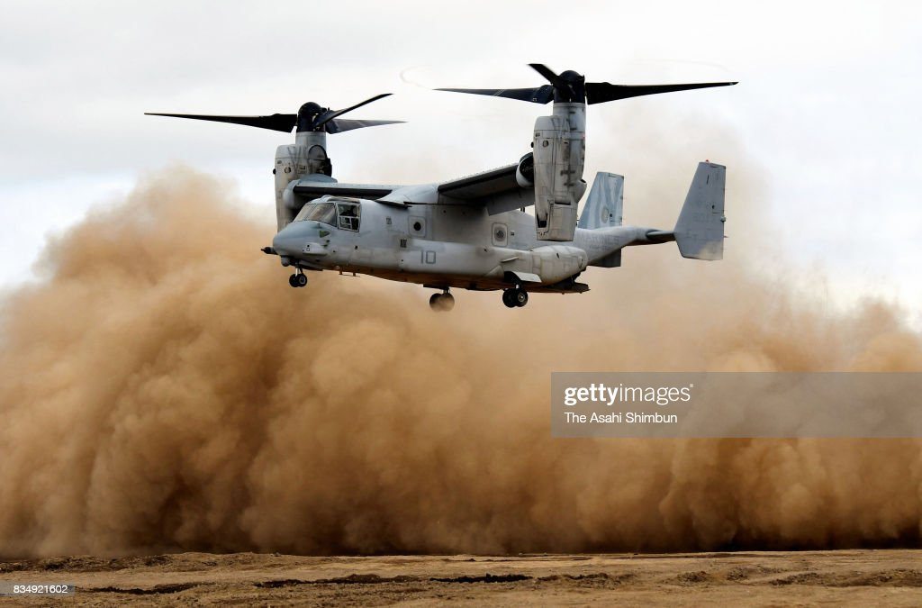 An U.S. Osprey aircraft lands during the Japan-U.S. joint exercise on August 18, 2017 in Eniwa, Hokkaido, Japan. The exercise, 3,300 military personnel take part in, continues until August 28.