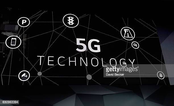 An video display presents 5G technology during a LG press event for CES 2017 at the Mandalay Bay Convention Center on January 4 2017 in Las Vegas...