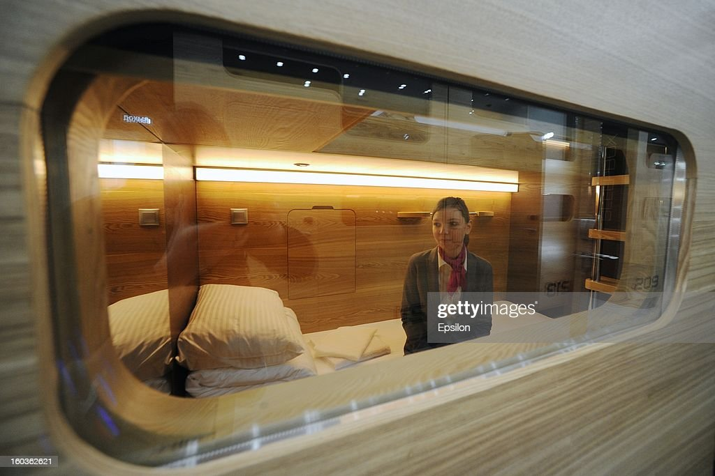 An view of Moscow's first capsule hotel 'Sleepbox Hotel Tverskaya' on January 29, 2013 in Moscow, Russia. The new hotel is the first of its kind in the city and has no windows or bathroom, each capsule contains a bed, shelf, small closet and desk and costs less approximately 32 USD or 24 Euros per night.