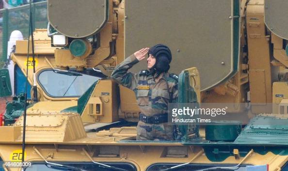 An women officer leadeing the OSA AK Weapons Systems Army Tanks passing through the saluting base during the full dress rehearsal for Republic Day...