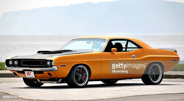 An XV Motorsportsmodified 1970 Dodge Challenger XV001 vintage muscle car is displayed along the Hudson River in Irvington New York Saturday Aug 4...