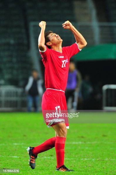 An YongHak of Korea DPR clebrates during 2013 EAFF East Asian Cup Qualifying match between Korea DPR and Australia at Hong Kong Stadium on December 5...