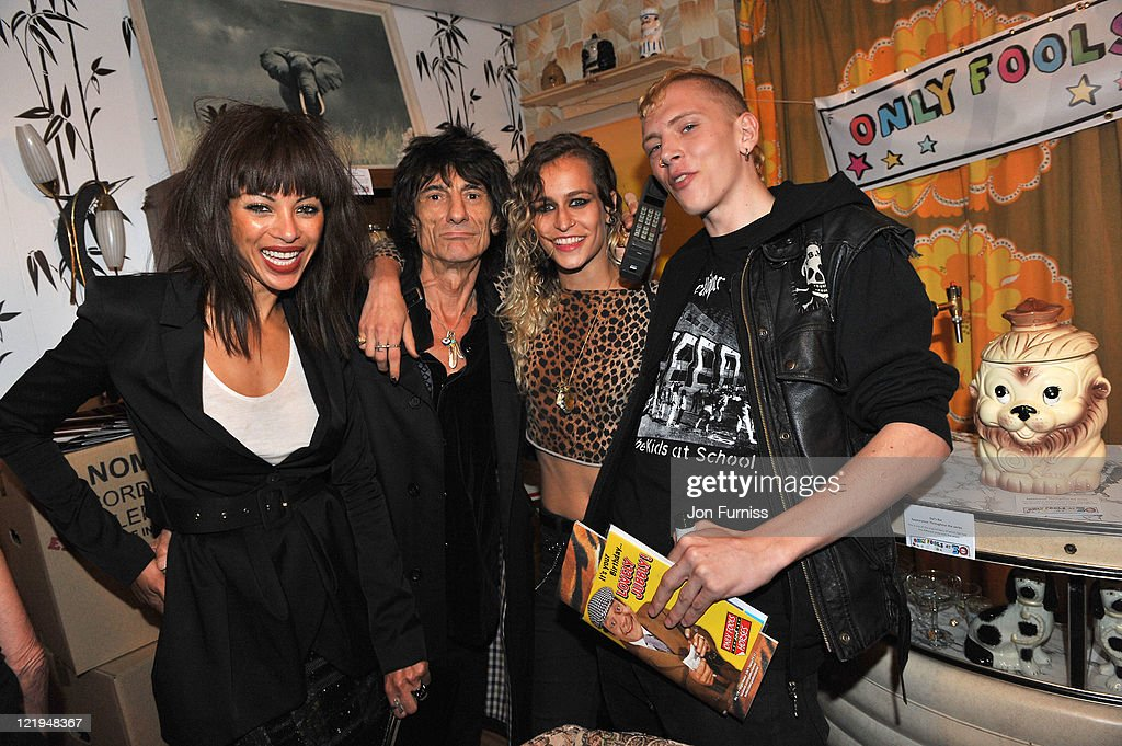 Ana Araujo, Ronnie Wood, <a gi-track='captionPersonalityLinkClicked' href=/galleries/search?phrase=Alice+Dellal&family=editorial&specificpeople=4261908 ng-click='$event.stopPropagation()'>Alice Dellal</a> and guest attend the Gold Nelson Mandela House launch, celebrating Only Fools at 30 on Gold on August 23, 2011 in London, England.