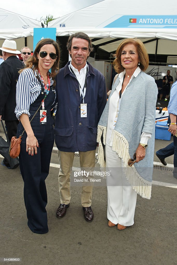 Ana Aznar Botella Jose Maria Aznar and Ana Botella attends day 2 of the 2016 FIA Formula E Visa London ePrix in Battersea Park on July 3 2016 in...