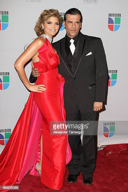 Ana Barbara and husband arrive at Univision's 2010 Premio Lo Nuestro a La Musica Latina Awards at American Airlines Arena on February 18 2010 in...