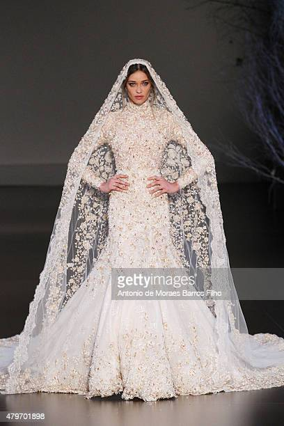Ana Beatriz Barros walks the runway during the Ralph Russo show as part of Paris Fashion Week Haute Couture Fall/Winter 2015/2016 on July 6 2015 in...