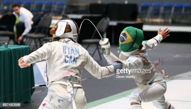 Ana Beatriz Bulcao of Brazil attacks Kelleigh Ryan of Canada during the Team Women's Foil event on June 18 2017 at the PanAmerican Fencing...