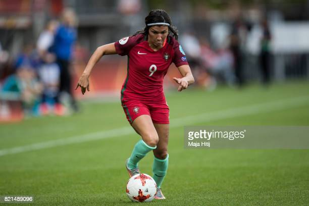 Ana Borges of Portugal controls the ball during the UEFA Women's Euro 2017 Group D match between Scotland v Portugal at Sparta Stadion on July 23...