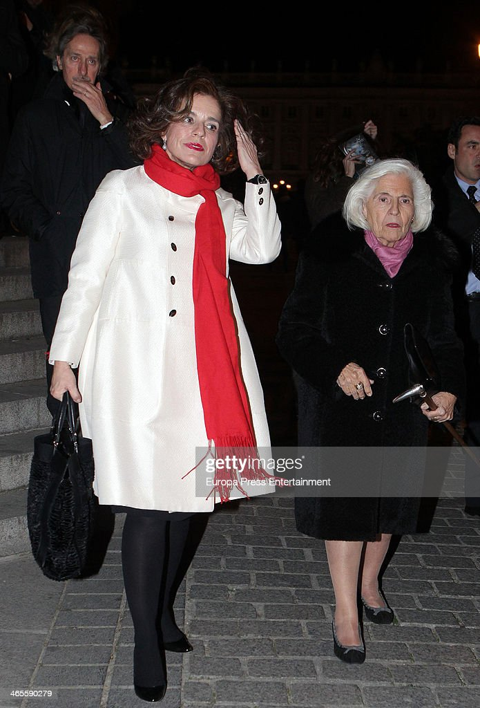 Ana Botella (L) and her mother Ana Maria Serrano Sancho-Alvarez (2L) attend 'Tristan And Isolda' opera at the Royal Theatre on January 27, 2014 in Madrid, Spain.