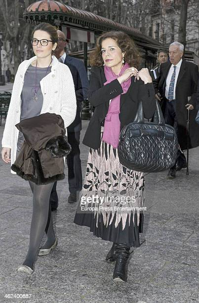 Ana Botella and Irene Michavila are seen leaving opera 'Tristan and Isolde' by Richard Warner on January 12 2014 in Madrid Spain