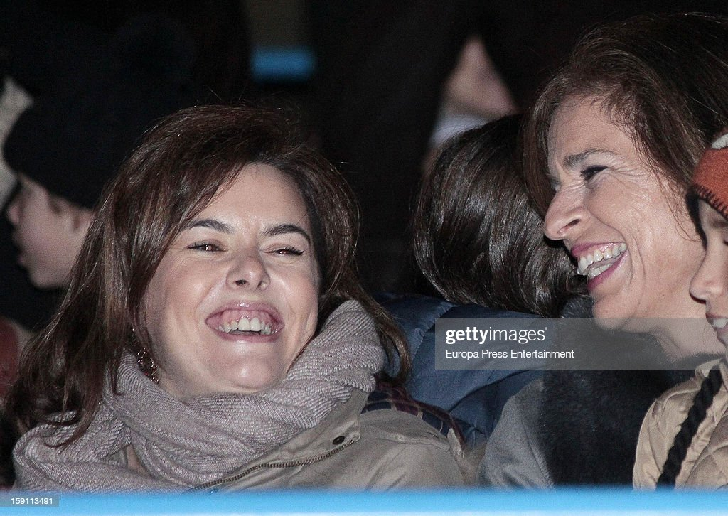 Ana Botella (R) and Soraya Saenz de Santamaria attend the procession of the Wise Men on January 5, 2013 in Madrid, Spain.
